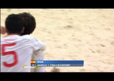 Amazing bicycle goal in beach soccer