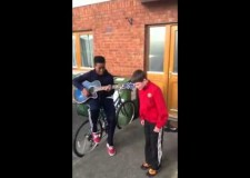 2 Boys singing 'We found love'